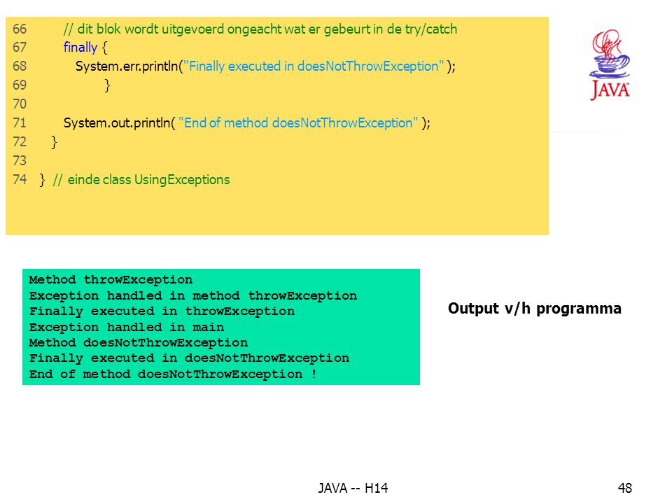 13. Het finally blok Output v/h programma