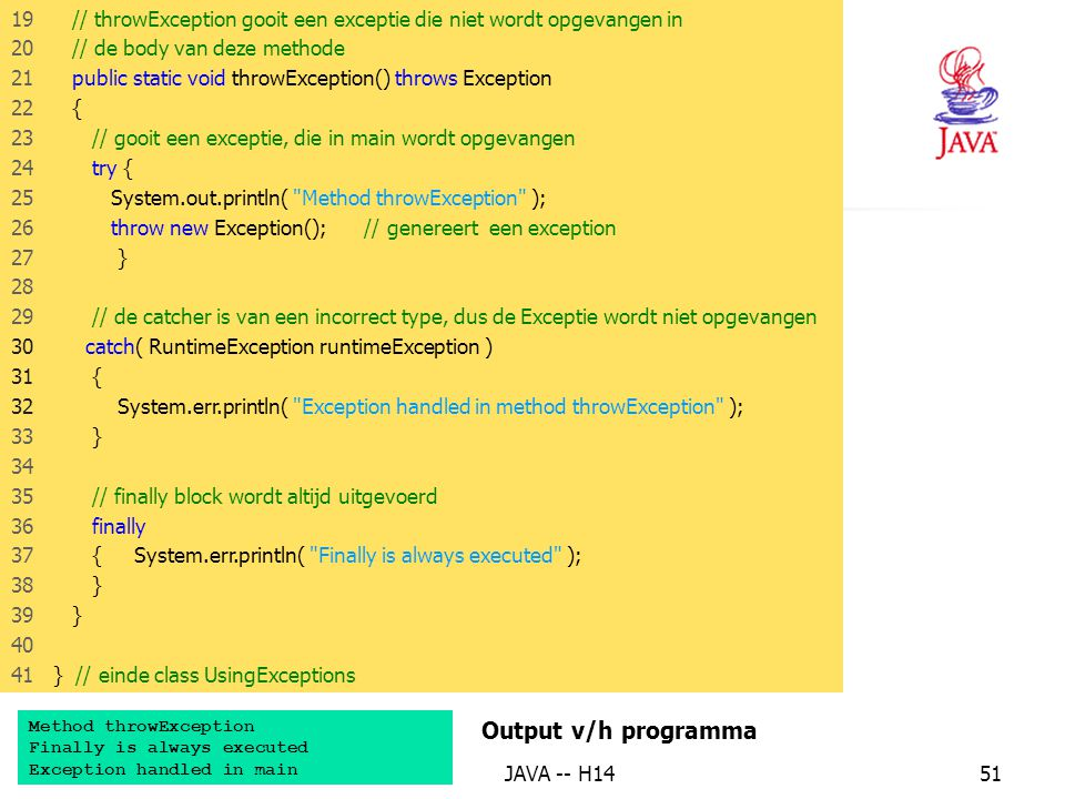 13. Het finally blok Output v/h programma