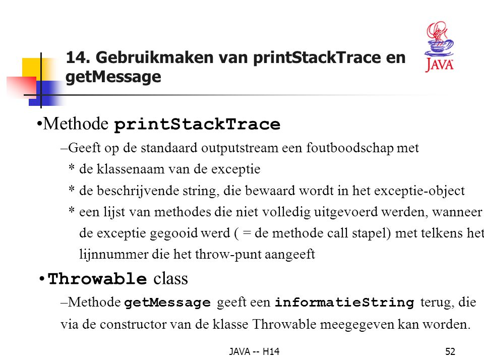 Methode printStackTrace