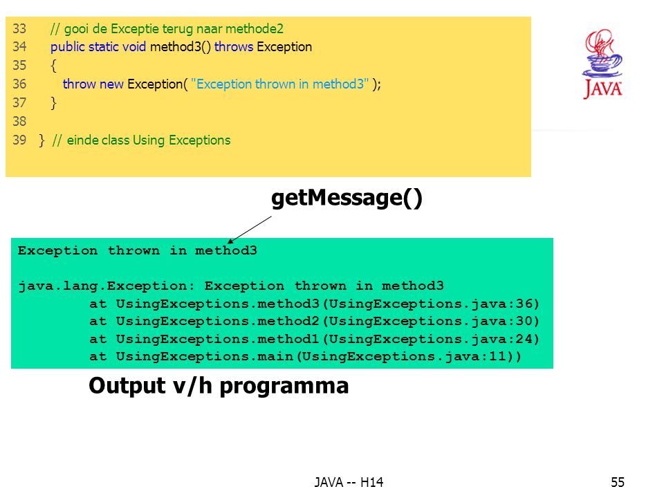 getMessage() Output v/h programma Exception thrown in method3