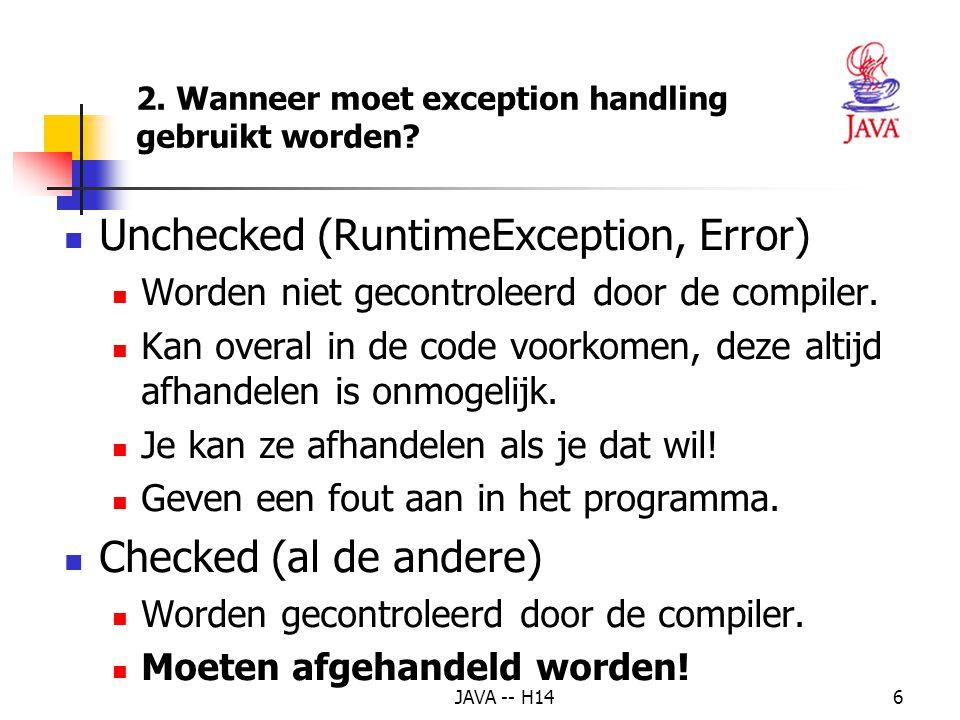 2. Wanneer moet exception handling gebruikt worden