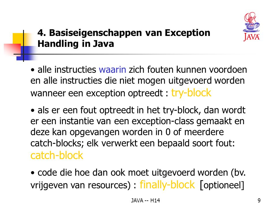 4. Basiseigenschappen van Exception Handling in Java