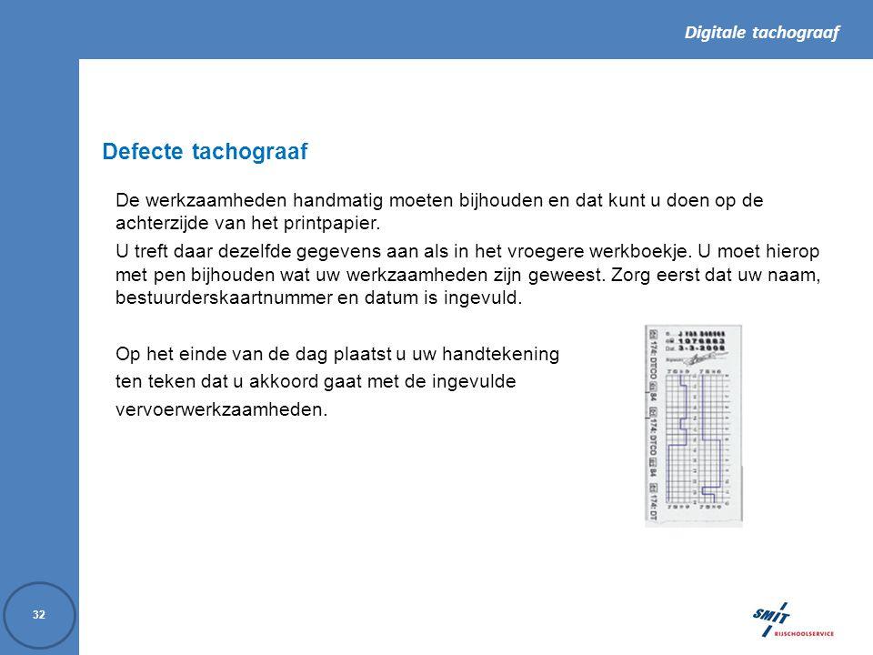Defecte tachograaf De werkzaamheden handmatig moeten bijhouden en dat kunt u doen op de achterzijde van het printpapier.