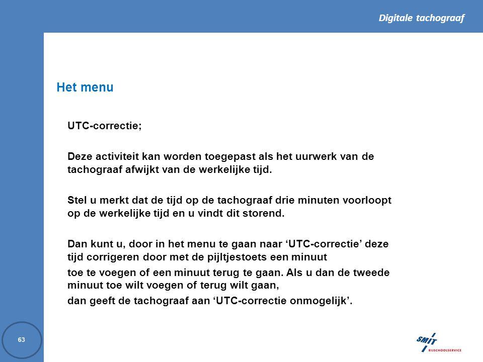 Het menu UTC-correctie;