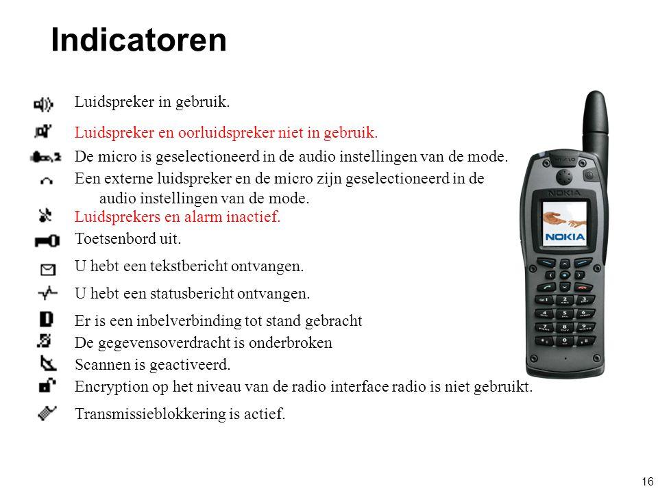 Indicatoren Luidspreker in gebruik.