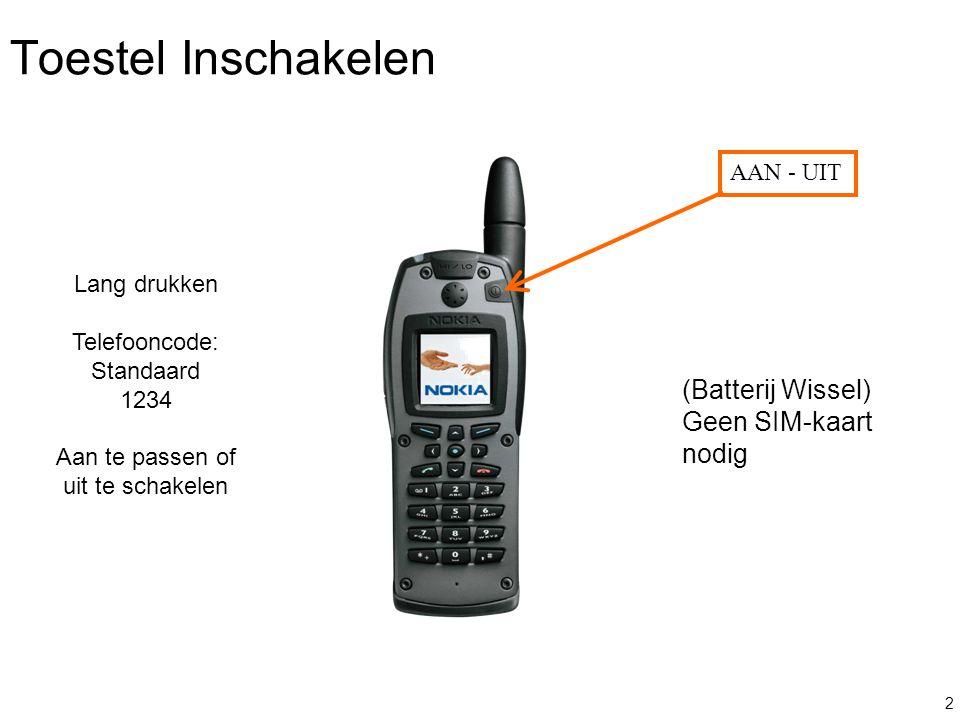 Toestel Inschakelen (Batterij Wissel) Geen SIM-kaart nodig AAN - UIT