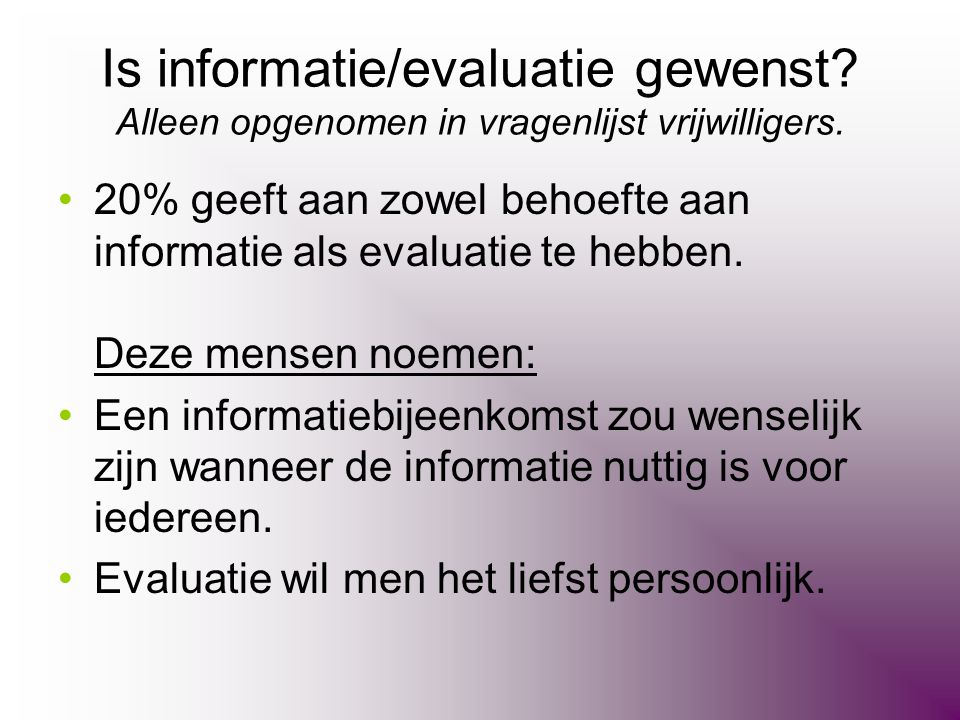 Is informatie/evaluatie gewenst