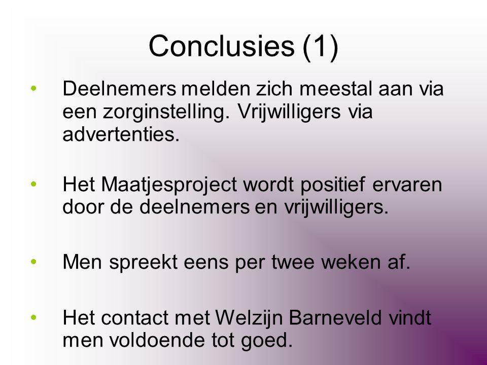 Conclusies (1) Deelnemers melden zich meestal aan via een zorginstelling. Vrijwilligers via advertenties.