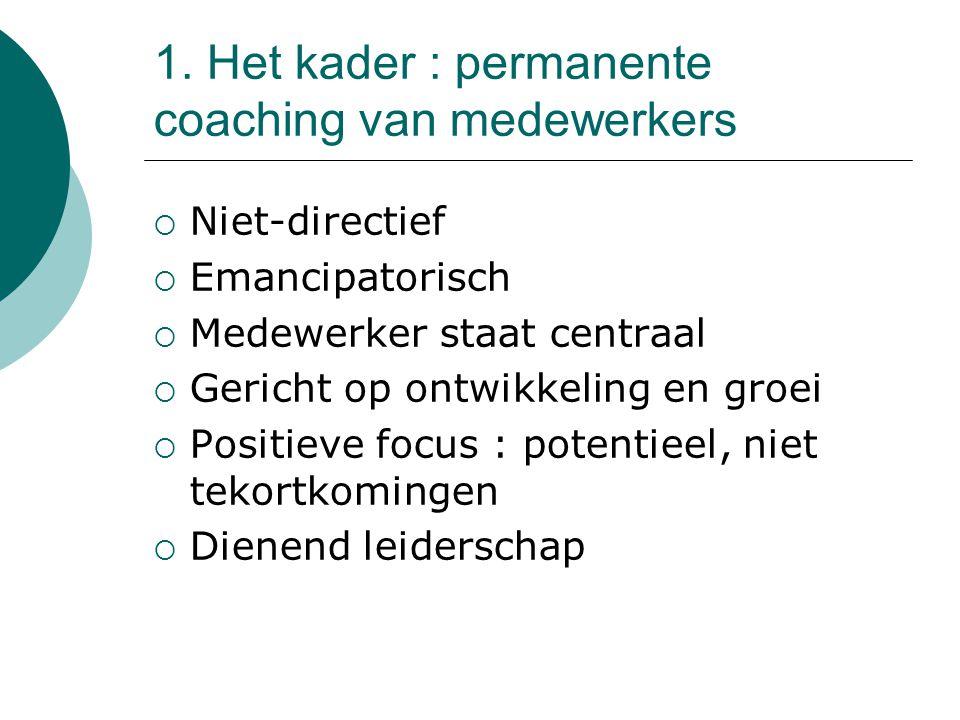 1. Het kader : permanente coaching van medewerkers