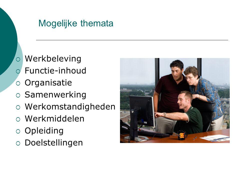 Mogelijke themata Werkbeleving Functie-inhoud Organisatie Samenwerking