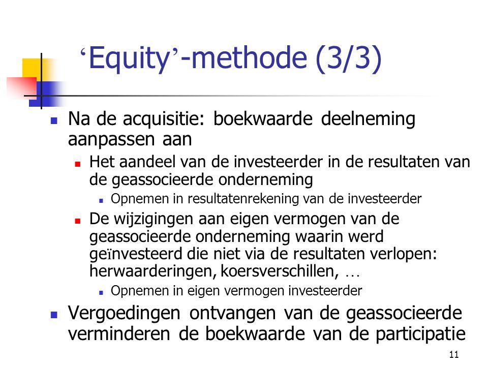 'Equity'-methode (3/3) Na de acquisitie: boekwaarde deelneming aanpassen aan.