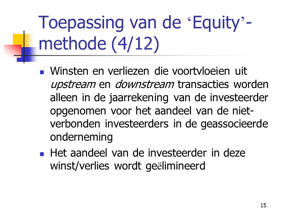 Toepassing van de 'Equity'-methode (4/12)