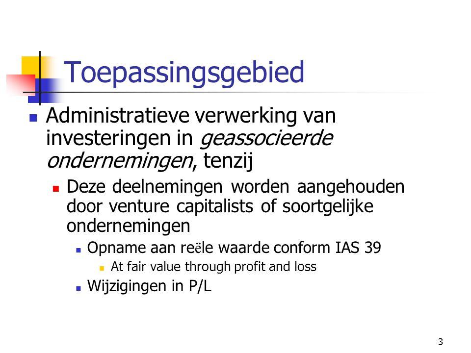Toepassingsgebied Administratieve verwerking van investeringen in geassocieerde ondernemingen, tenzij.