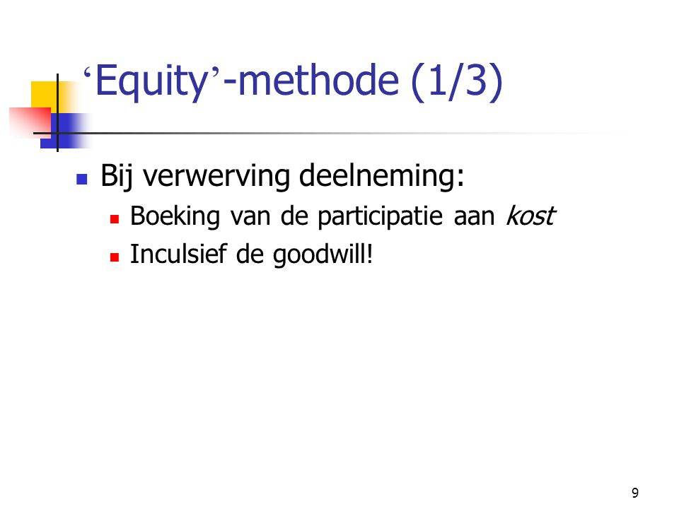 'Equity'-methode (1/3) Bij verwerving deelneming: