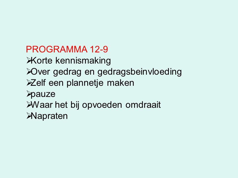 PROGRAMMA 12-9 Korte kennismaking. Over gedrag en gedragsbeinvloeding. Zelf een plannetje maken. pauze.