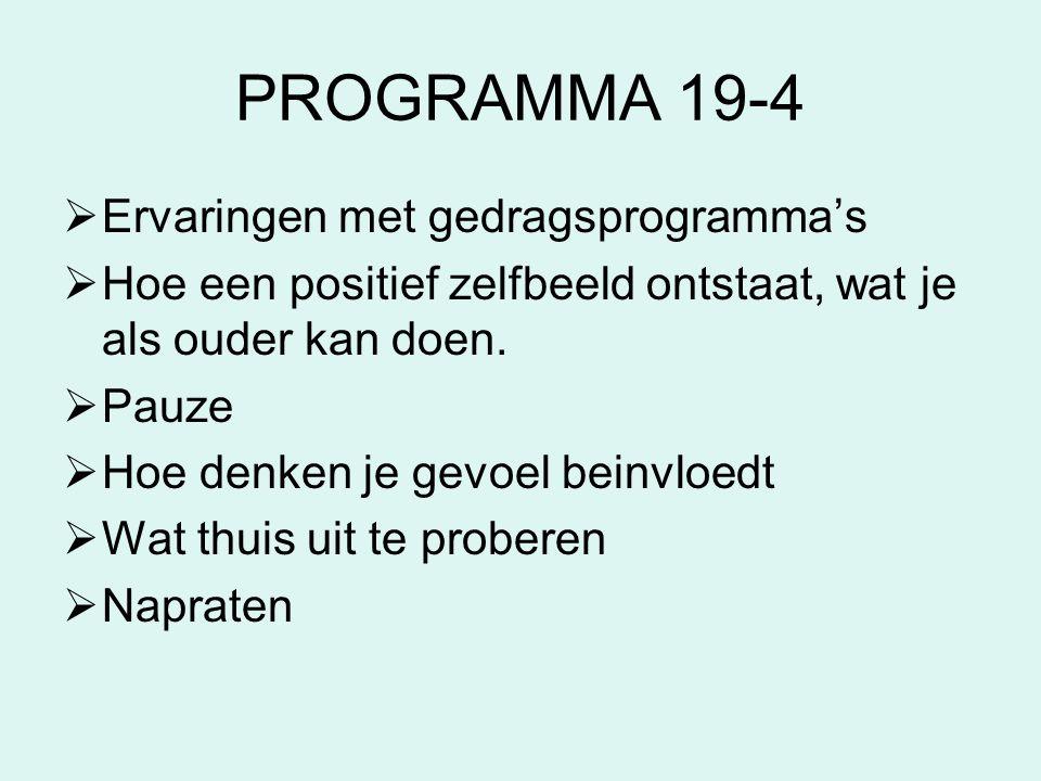 PROGRAMMA 19-4 Ervaringen met gedragsprogramma's