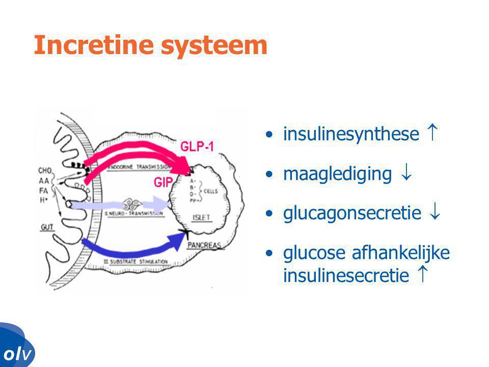 Incretine systeem insulinesynthese  maaglediging  glucagonsecretie 