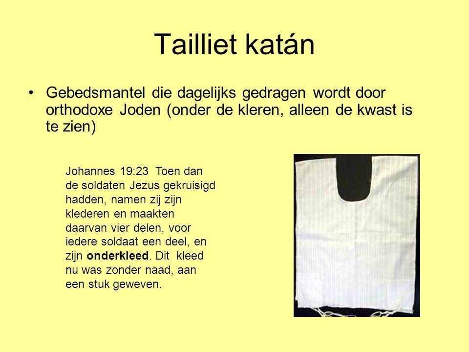 Tailliet katán Gebedsmantel die dagelijks gedragen wordt door orthodoxe Joden (onder de kleren, alleen de kwast is te zien)