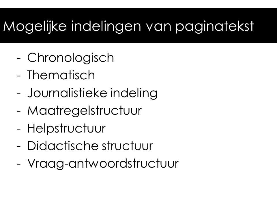 Mogelijke indelingen van paginatekst