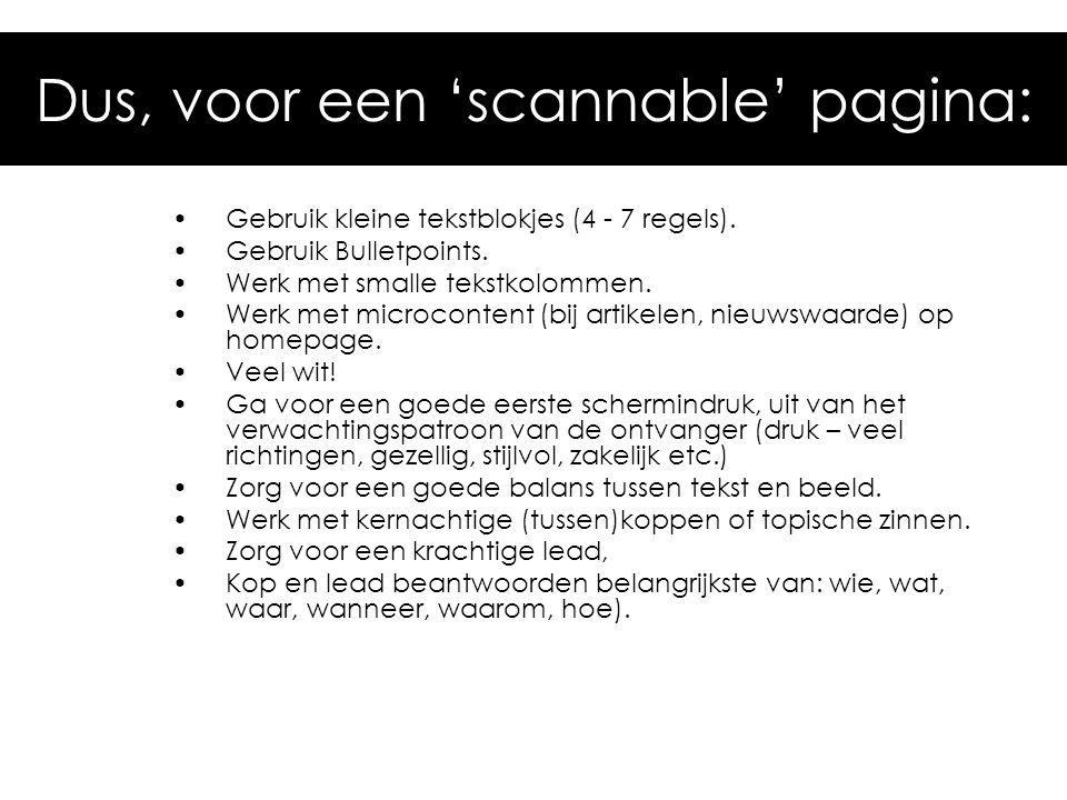 Dus, voor een 'scannable' pagina: