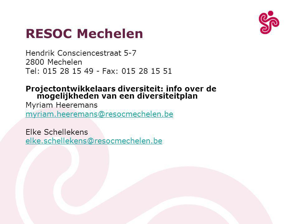 RESOC Mechelen Hendrik Consciencestraat 5-7 2800 Mechelen