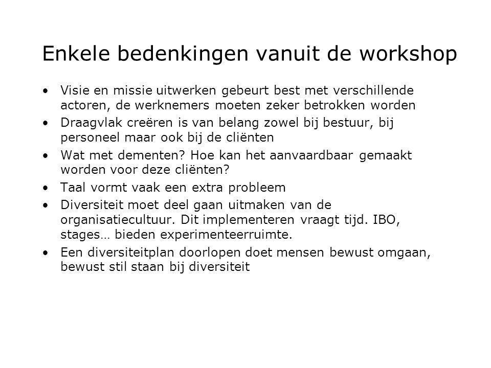 Enkele bedenkingen vanuit de workshop