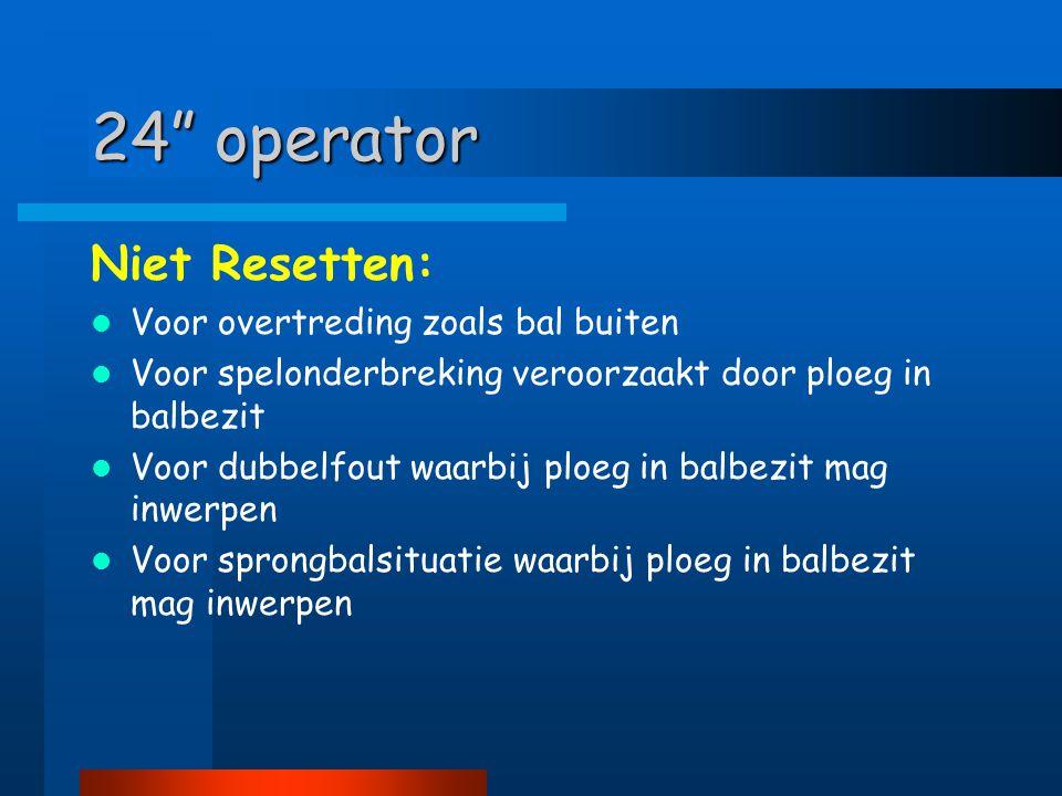 24 operator Niet Resetten: Voor overtreding zoals bal buiten