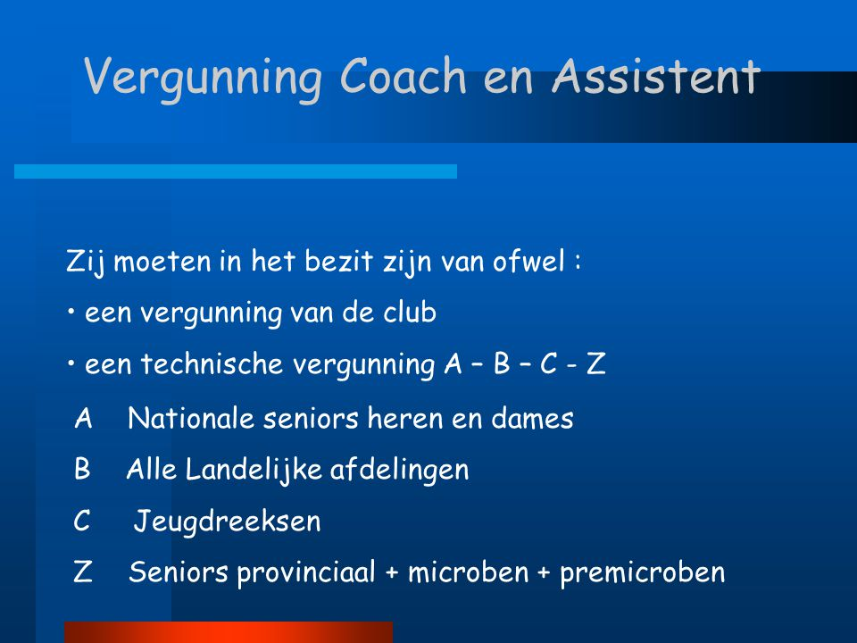 Vergunning Coach en Assistent