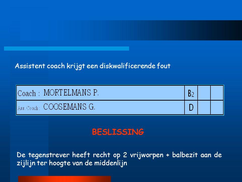 BESLISSING Assistent coach krijgt een diskwalificerende fout
