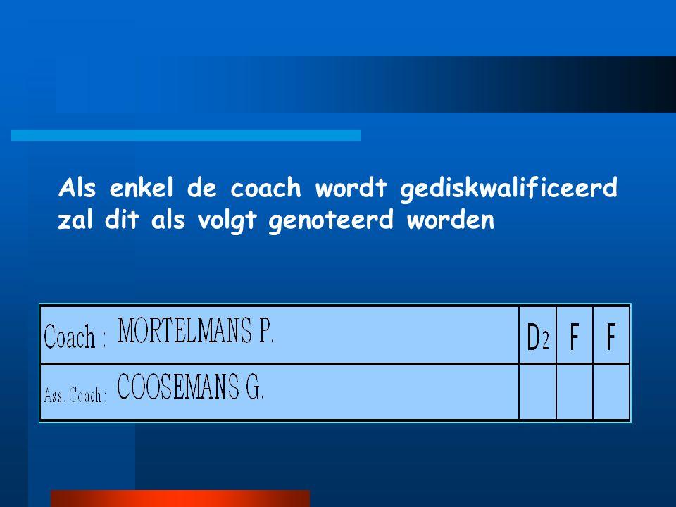 Als enkel de coach wordt gediskwalificeerd zal dit als volgt genoteerd worden