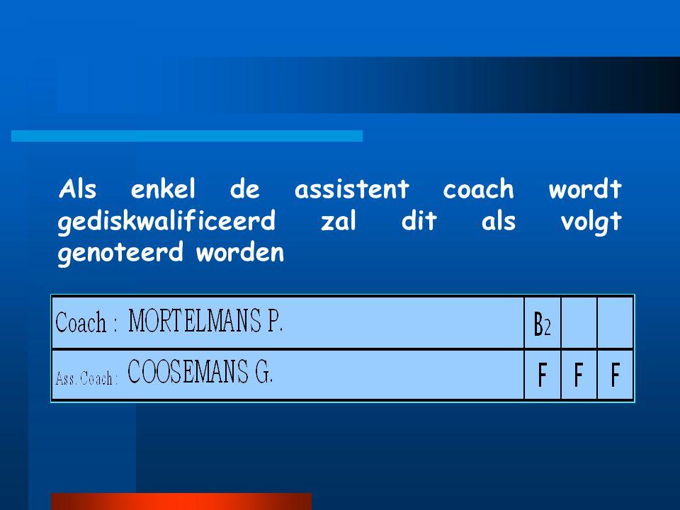 Als enkel de assistent coach wordt gediskwalificeerd zal dit als volgt genoteerd worden