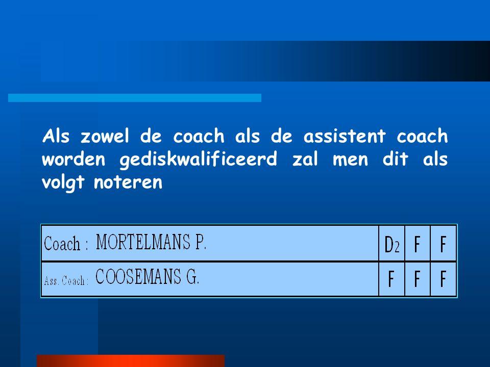 Als zowel de coach als de assistent coach worden gediskwalificeerd zal men dit als volgt noteren