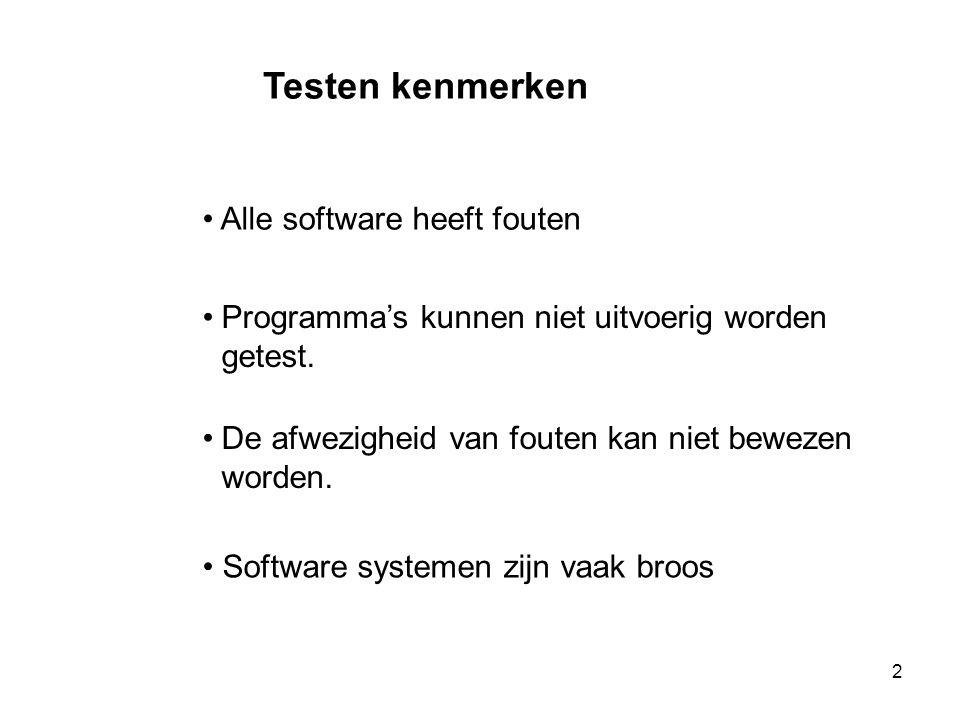 Testen kenmerken Alle software heeft fouten