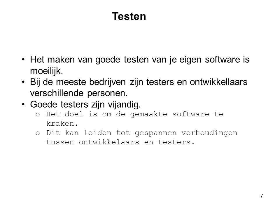 Testen Het maken van goede testen van je eigen software is moeilijk.