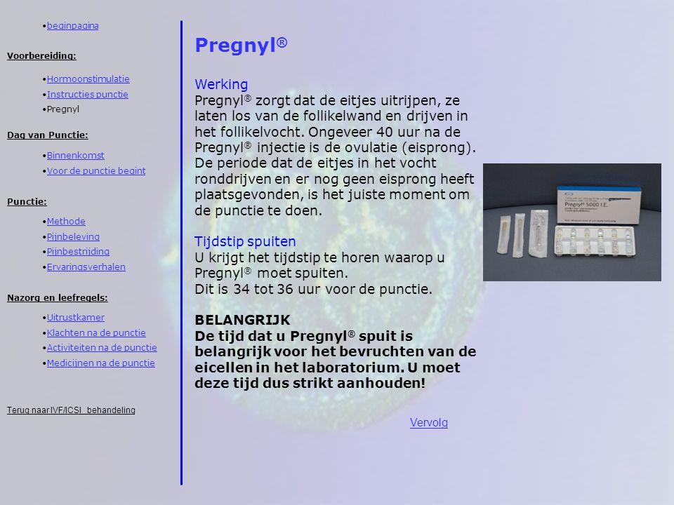 beginpagina Pregnyl® Werking.