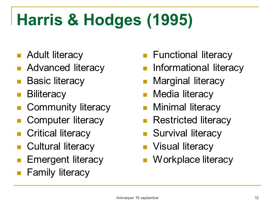 Harris & Hodges (1995) Adult literacy Advanced literacy Basic literacy