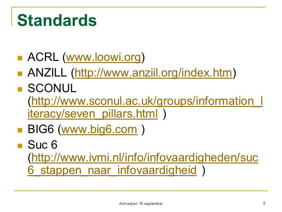 Standards ACRL (www.loowi.org)