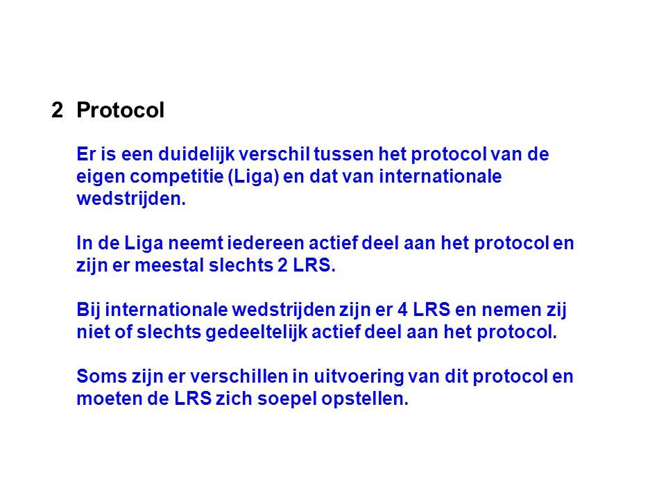 Protocol Er is een duidelijk verschil tussen het protocol van de eigen competitie (Liga) en dat van internationale wedstrijden.