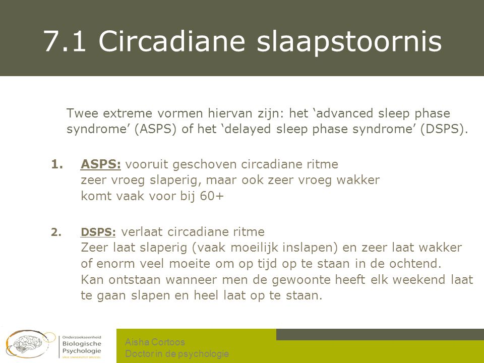 7.1 Circadiane slaapstoornis
