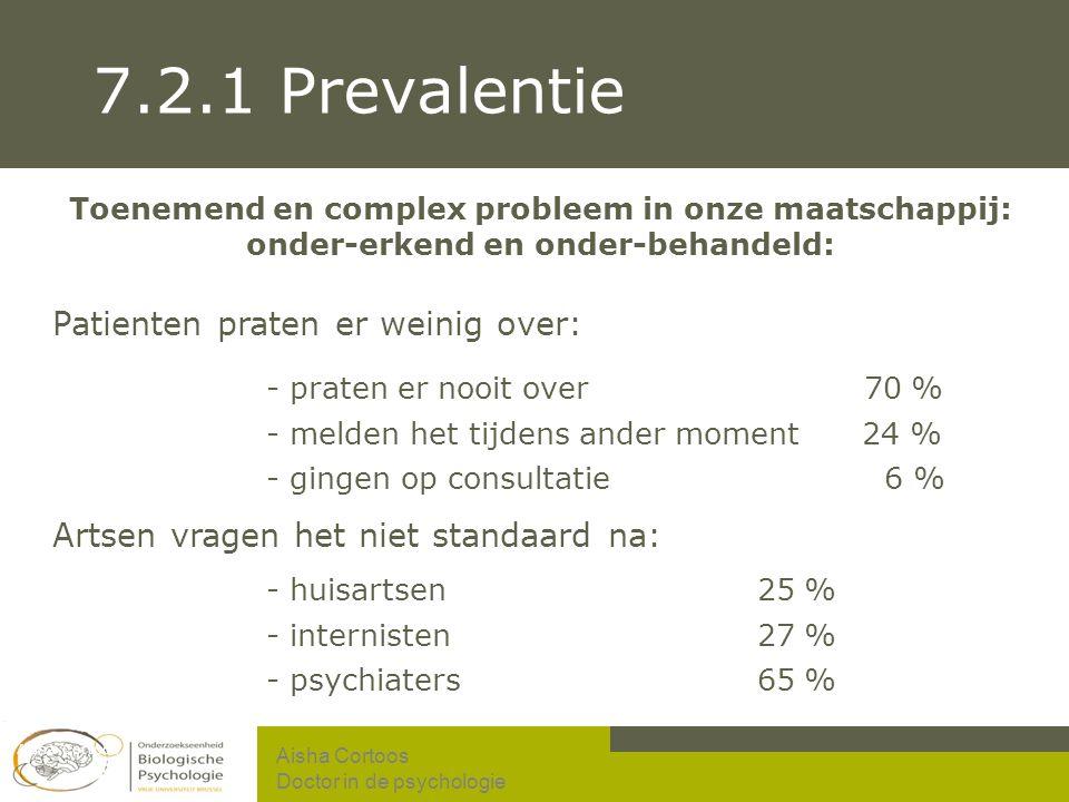 7.2.1 Prevalentie - praten er nooit over 70 % - huisartsen 25 %