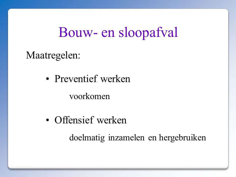 Bouw- en sloopafval Maatregelen: Preventief werken Offensief werken