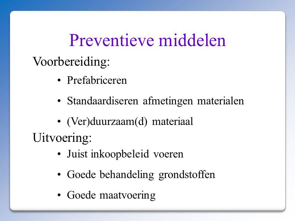 Preventieve middelen Voorbereiding: Uitvoering: Prefabriceren