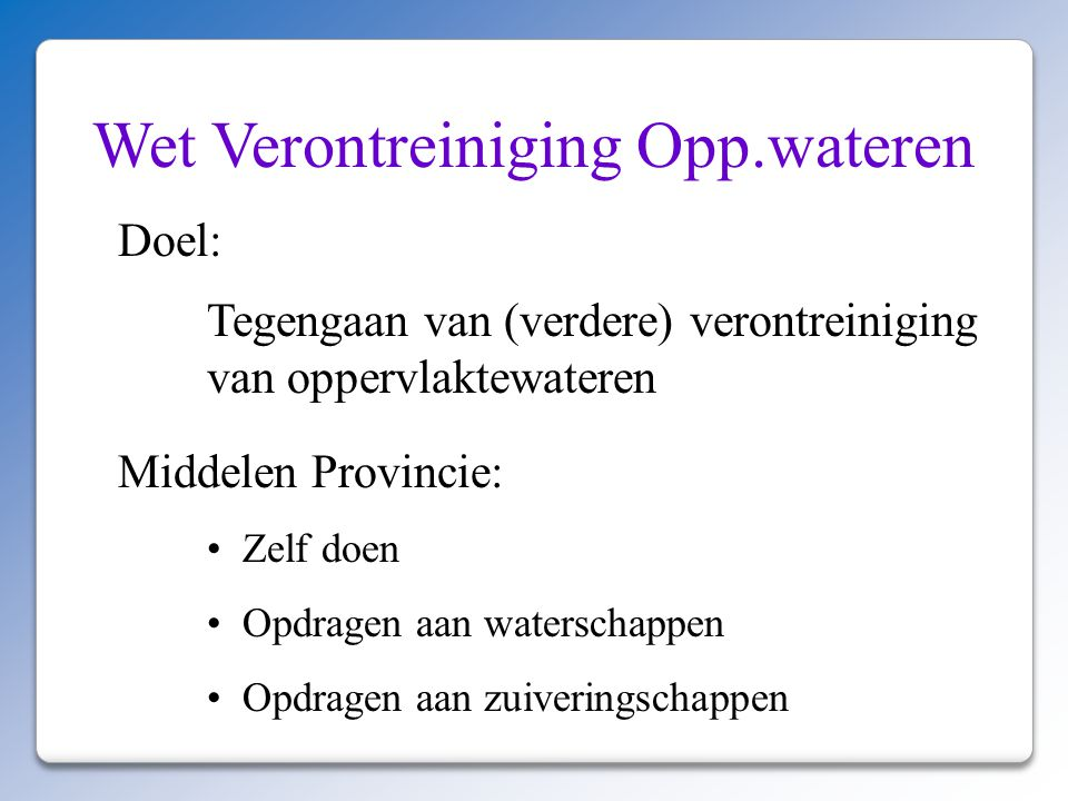 Wet Verontreiniging Opp.wateren