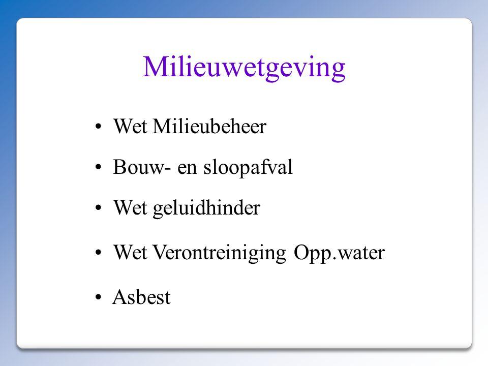Milieuwetgeving Wet Milieubeheer Bouw- en sloopafval Wet geluidhinder