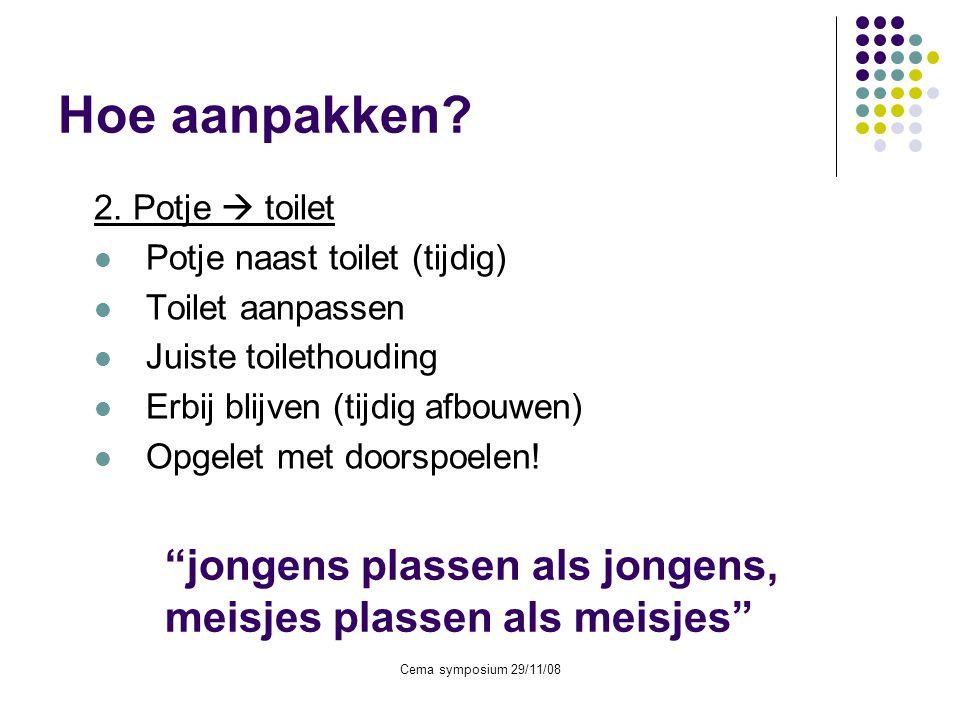 Hoe aanpakken 2. Potje  toilet. Potje naast toilet (tijdig) Toilet aanpassen. Juiste toilethouding.