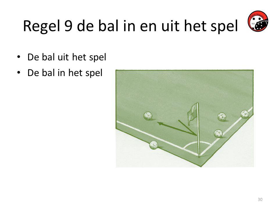 Regel 9 de bal in en uit het spel