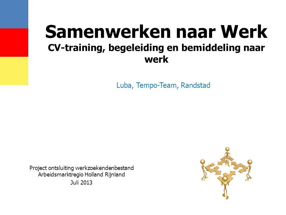 Samenwerken naar Werk CV-training, begeleiding en bemiddeling naar werk