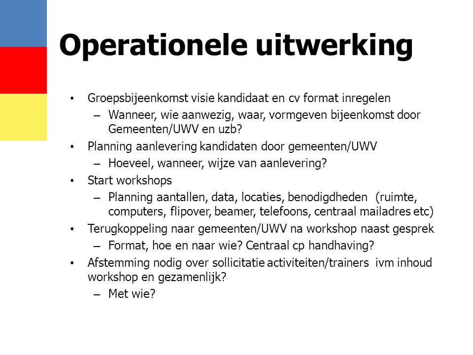 Operationele uitwerking