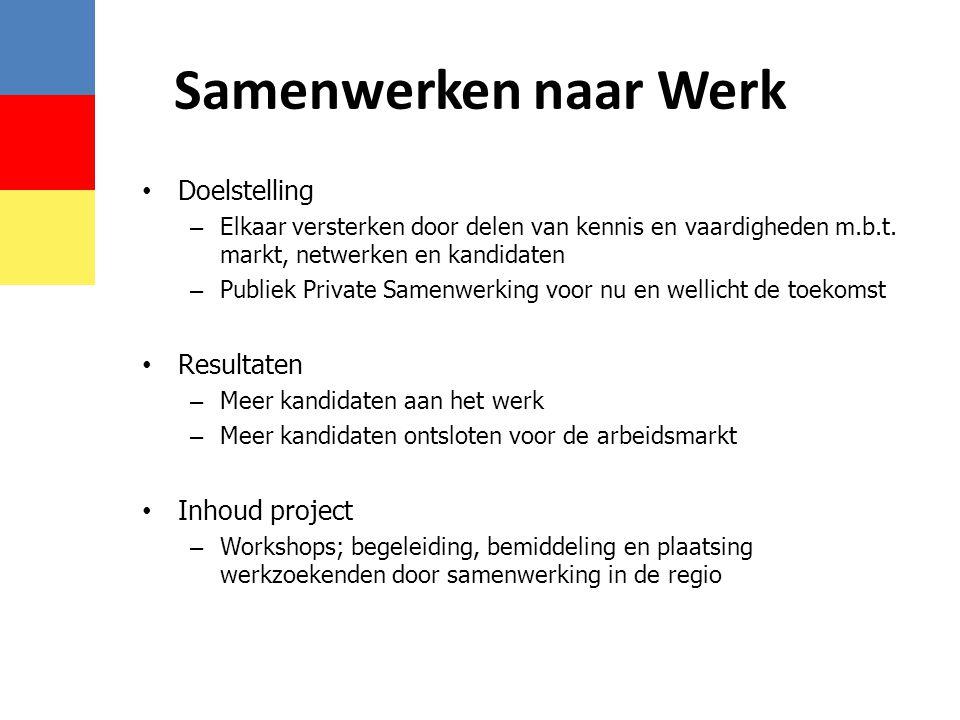 Samenwerken naar Werk Doelstelling Resultaten Inhoud project