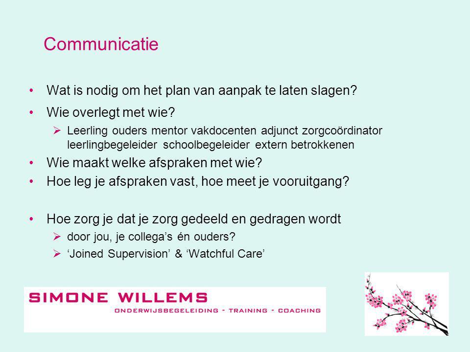 Communicatie Wat is nodig om het plan van aanpak te laten slagen